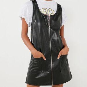 Silence + Noise faux leather zip shift dress